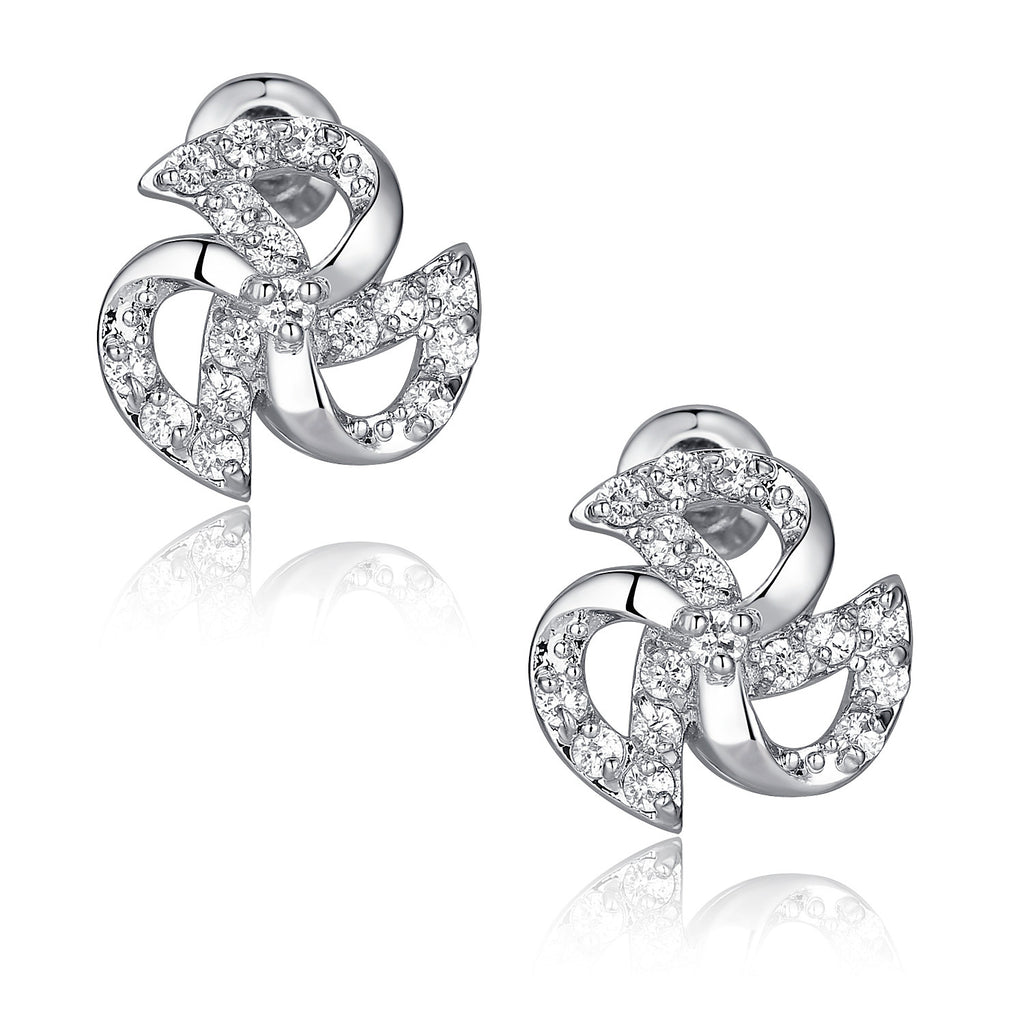 Pinwheel W. Clear Round Cubic Zirconia Stud Earrings