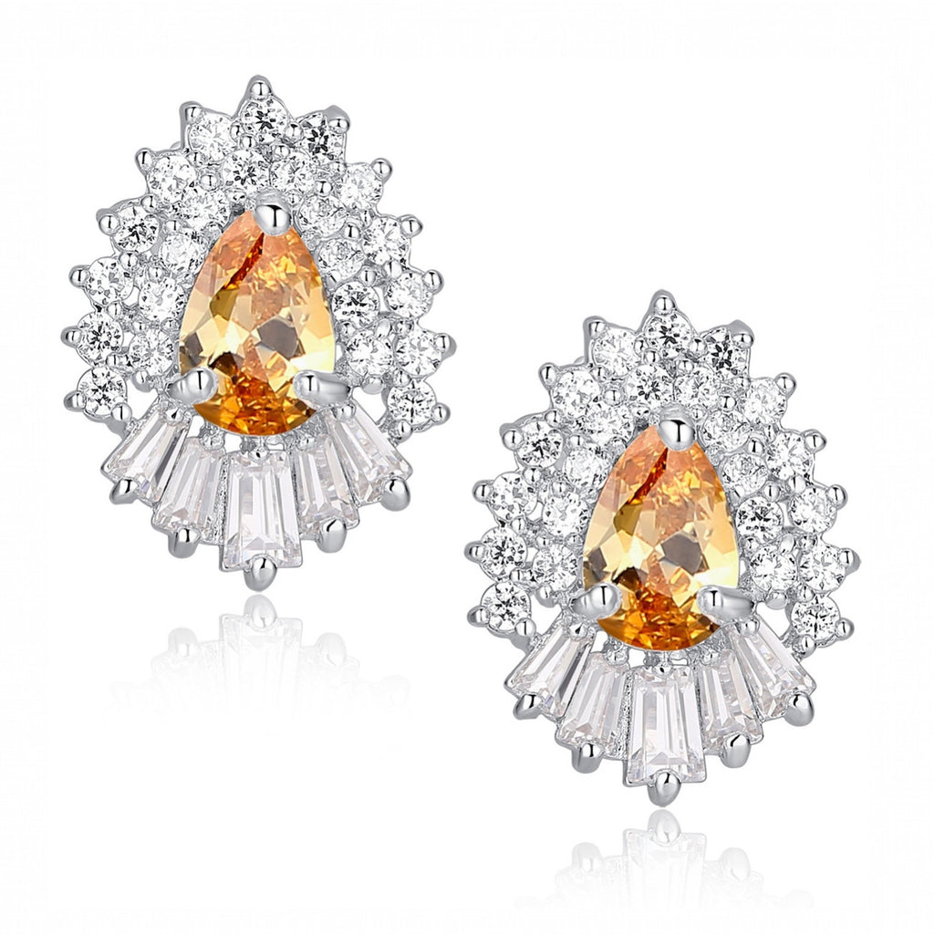 Amber Teardrop and Clear Baguette and Round Cubic Zirconia Stud Earrings