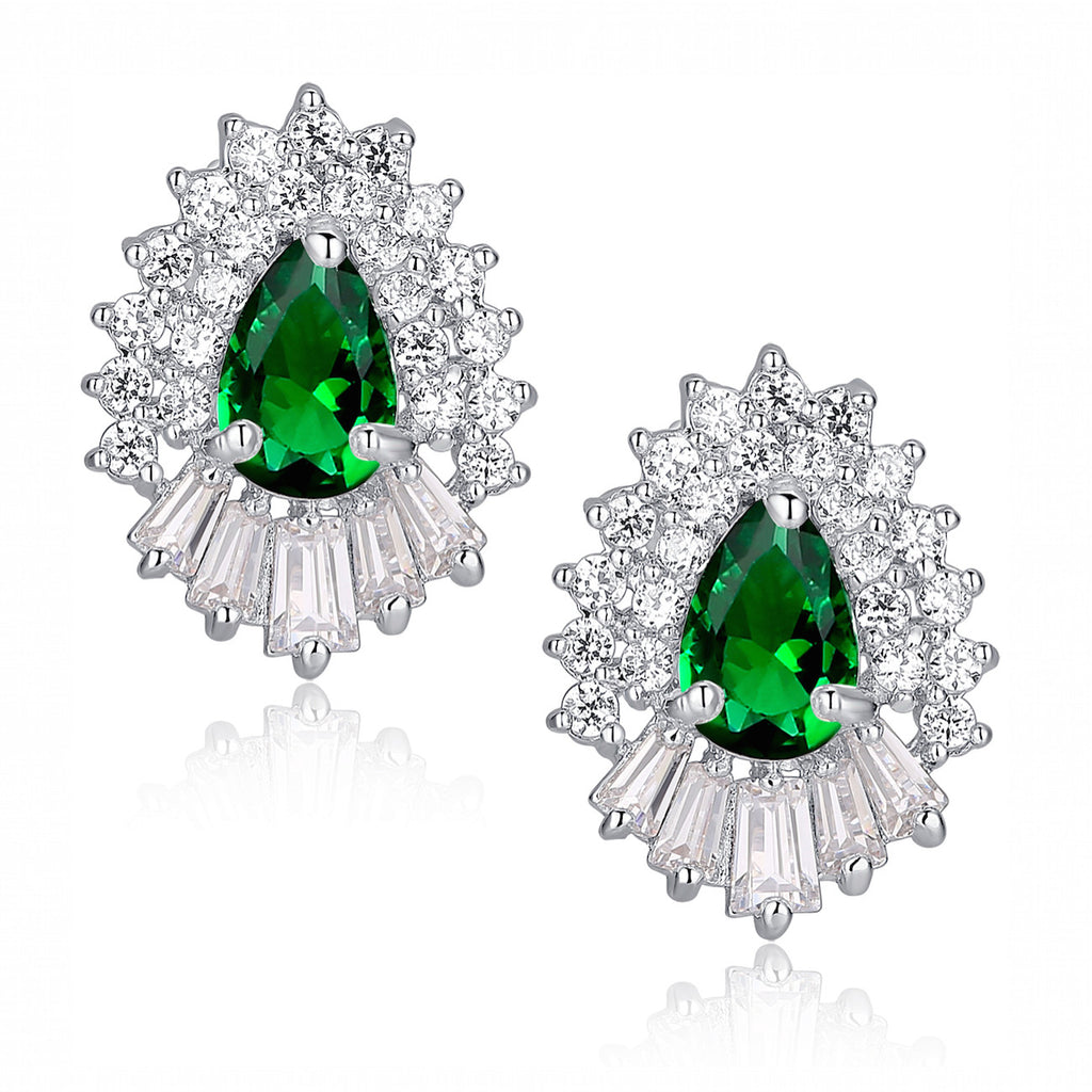 Green Teardrop and Clear Baguette and Round Cubic Zirconia Stud Earrings