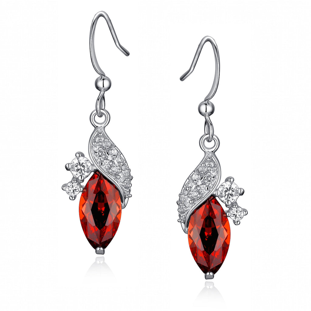 Red Marquise and Clear Round Cubic Zirconia Earrings
