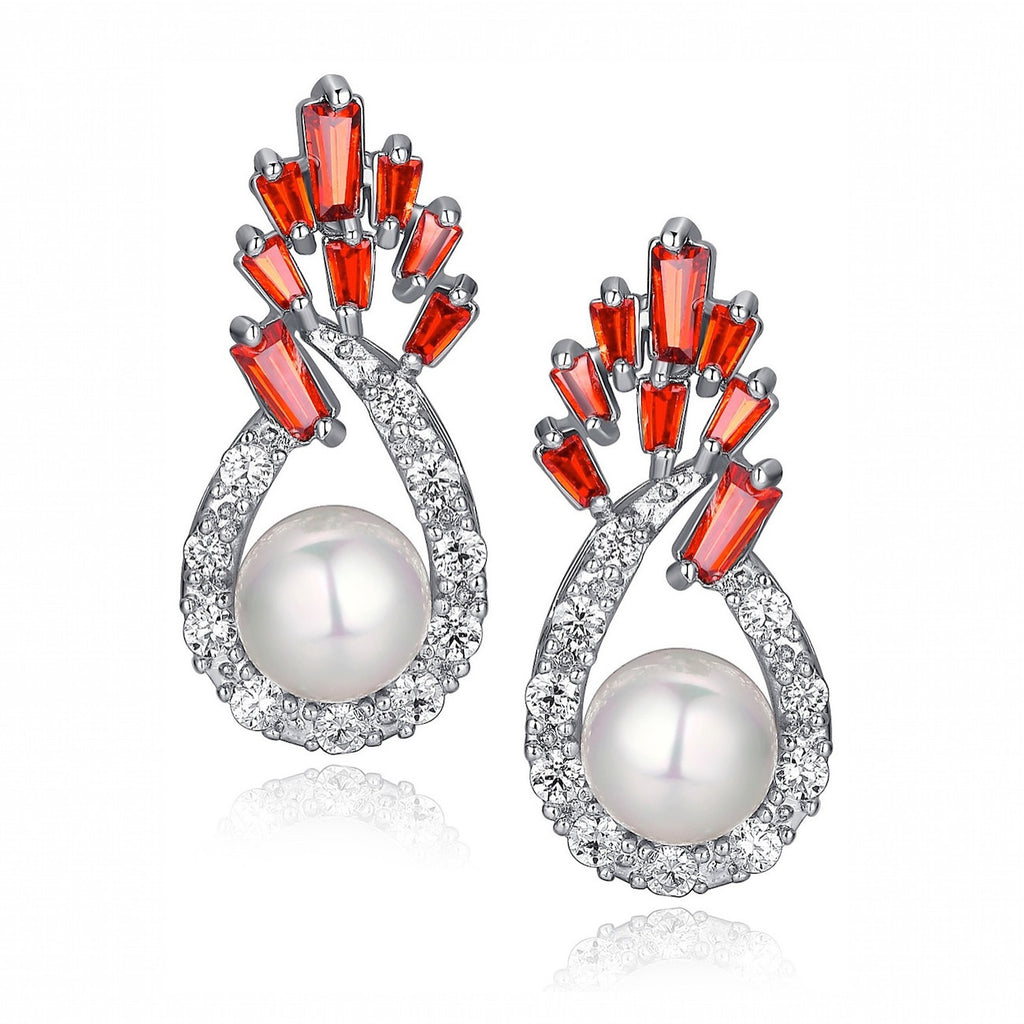 Shell Pearl W. Red Baguette and Clear Round Cubic Zirconia Earrings