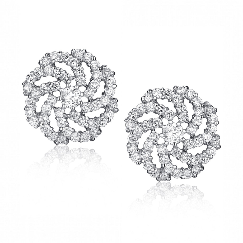 Swirling Cubic Zirconia Stud Earrings