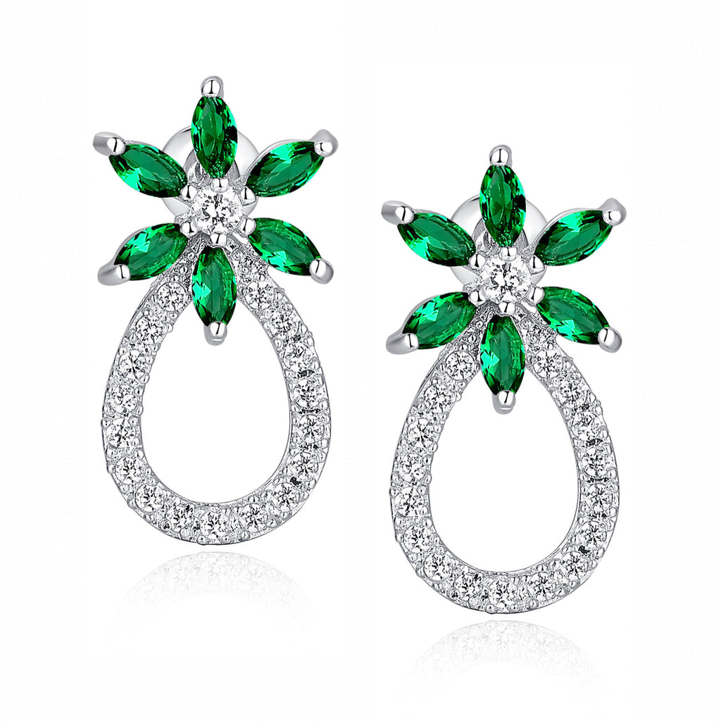 Green Marquise and Clear Round Cubic Zirconia Earrings