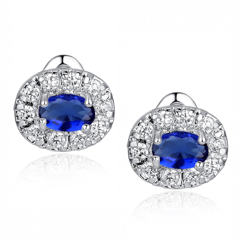 Blue Oval and Round Cubic Zirconia Stud Earrings