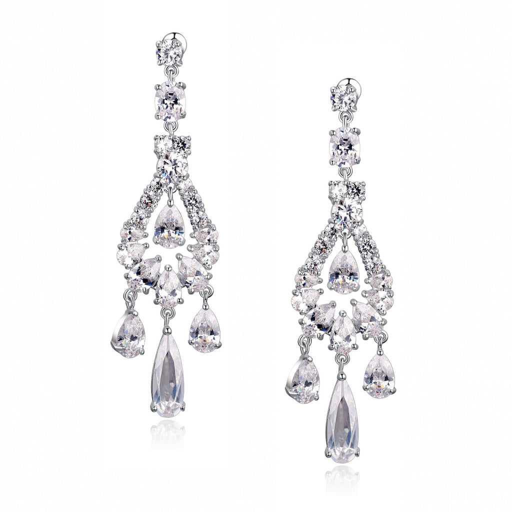 Teardrop, Round and Oval Cubic Zirconia Chandelier Earrings