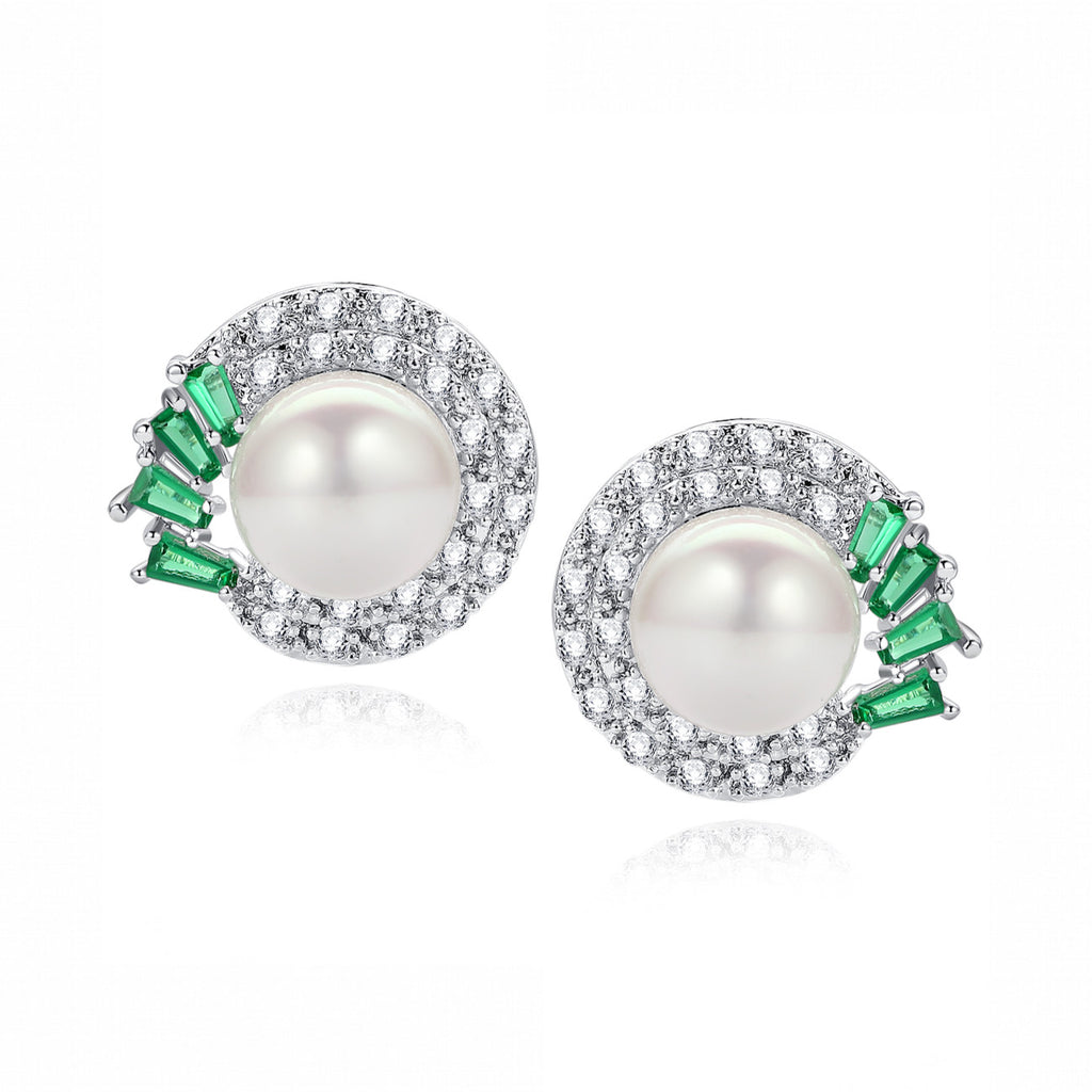 Shell Pearl W. Green Baguette and Clear Round Cubic Zirconia Stud Earrings