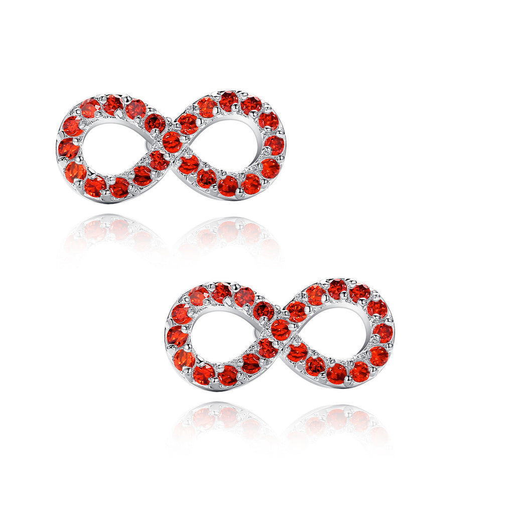 Infinity W. Red Cubic Zirconia Stud Earrings