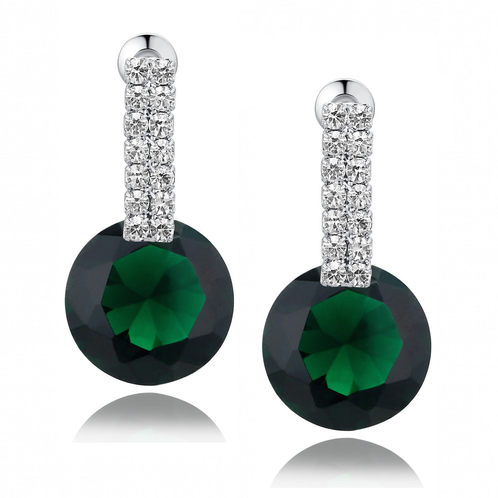 Green and Clear Round Cubic Zirconia Earrings