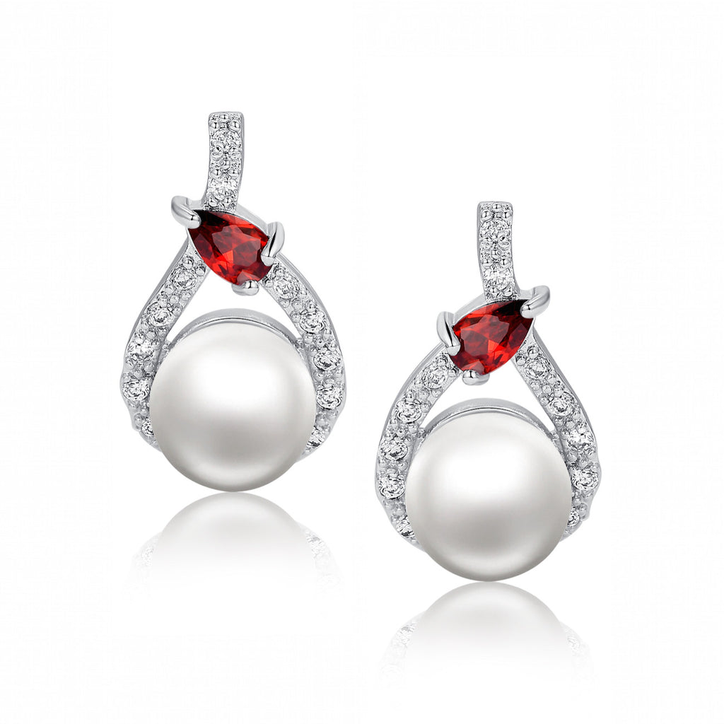 Shell Pearl W. Red Teardrop Cubic Zirconia Earrings