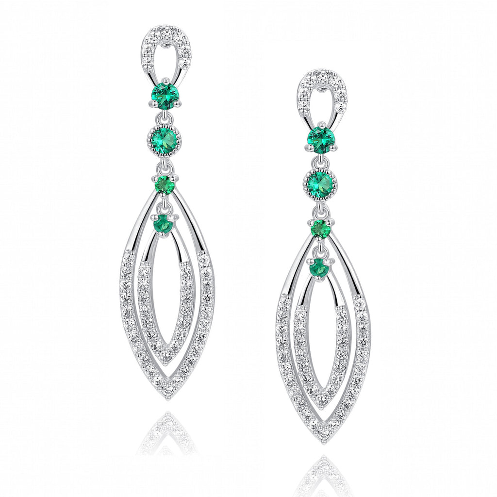 Double Marquise Shape W. Green and Clear Cubic Zirconia Chandelier Earrings