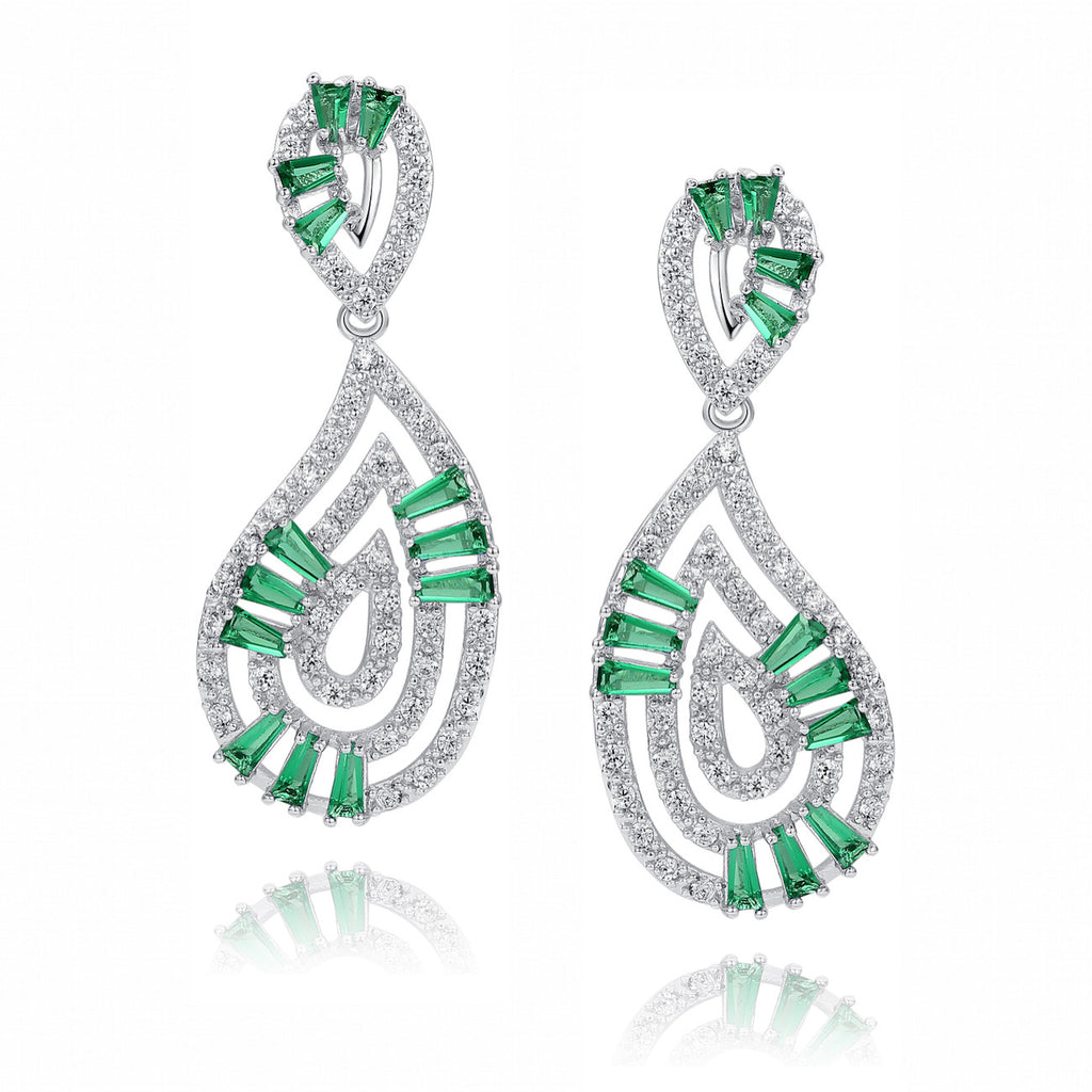 Teardrops W. Green Baguette and Clear Round Cubic Zirconia Earrings
