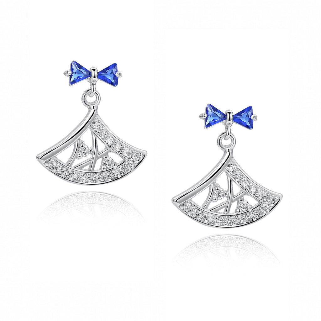 Blue Trilliant and Round Cubic Zirconia Earrings