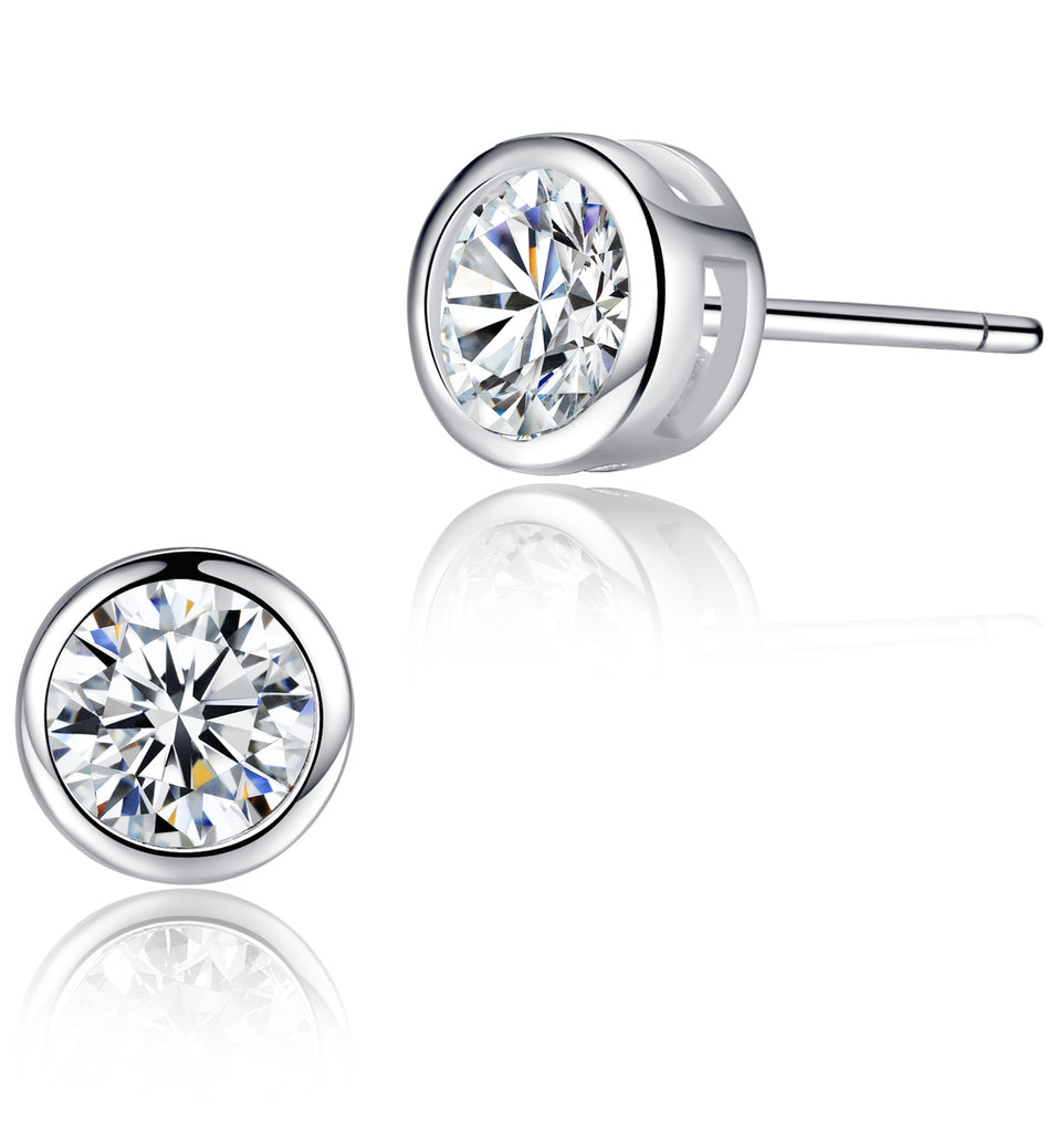 Sterling Silver Round Cubic Zirconia Stud Earrings