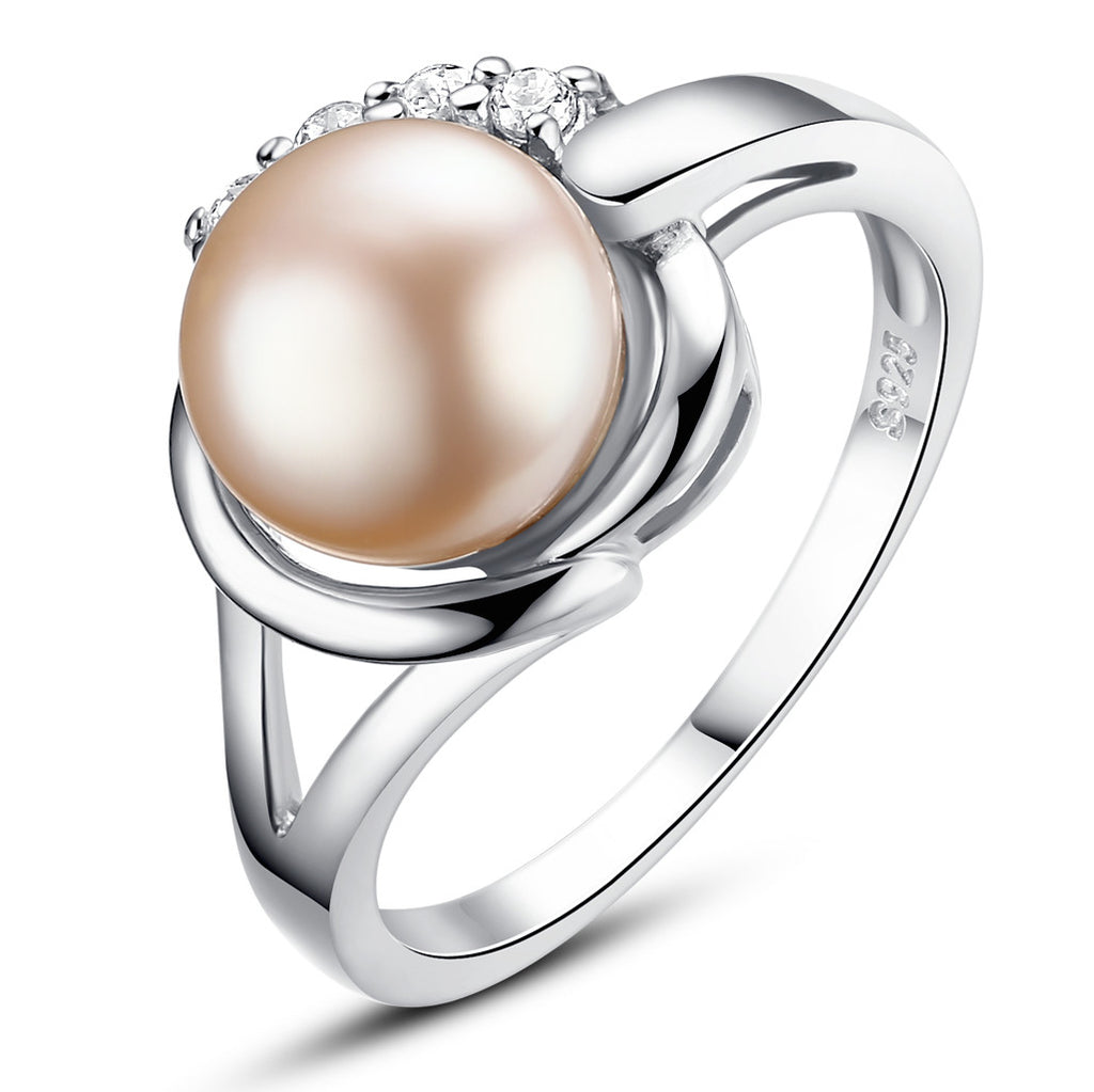 Sterling Silver Ring W. Shell Pearl and Cubic Zirconia
