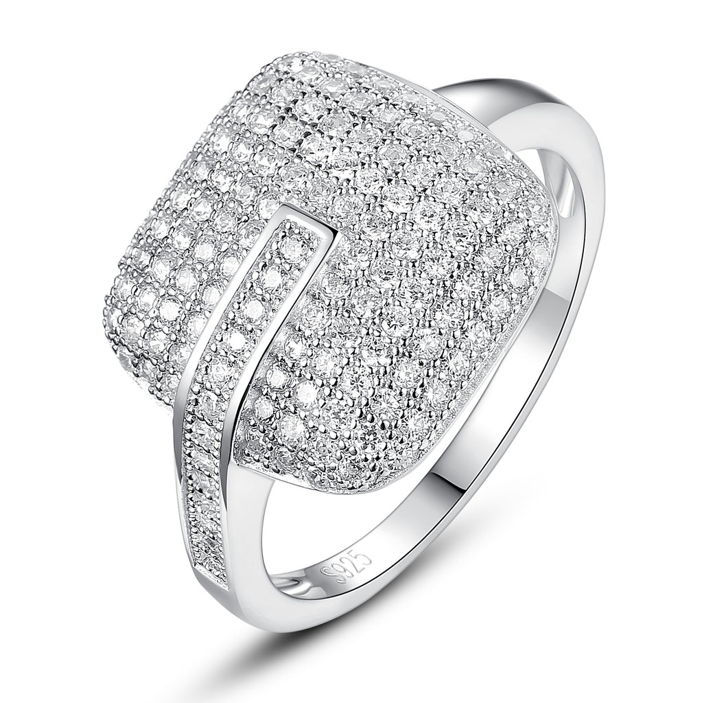 Sterling Silver Square Cushion W. Micro Pave Cubic Zirconia Ring