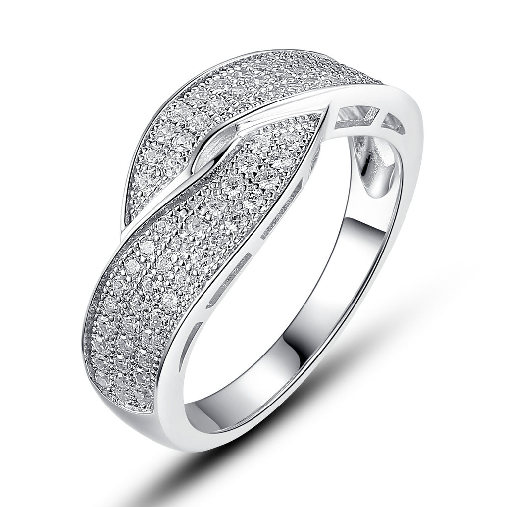 Sterling Silver Crisscross W. Micro Pave Cubic Zirconia Ring