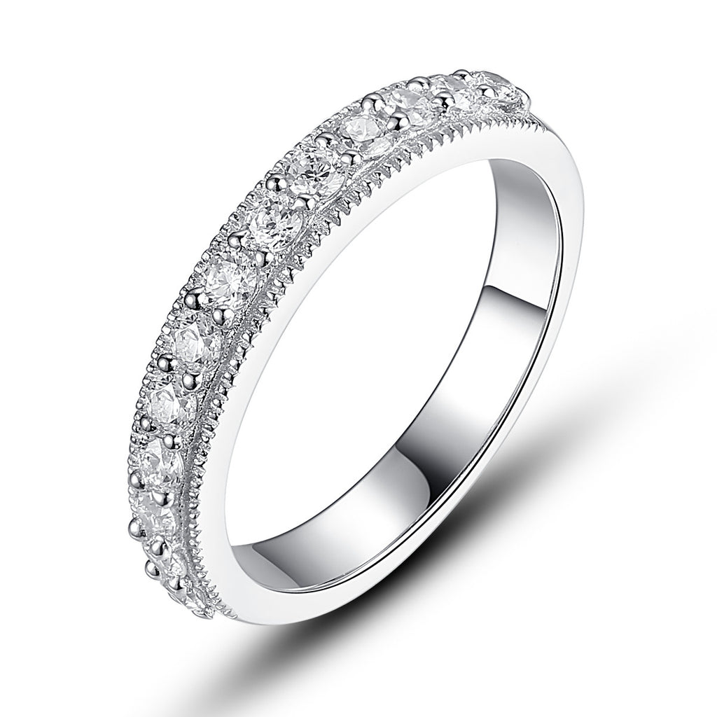 Sterling Silver Milgrain Edge Cubic Zirconia Half Eternity Ring
