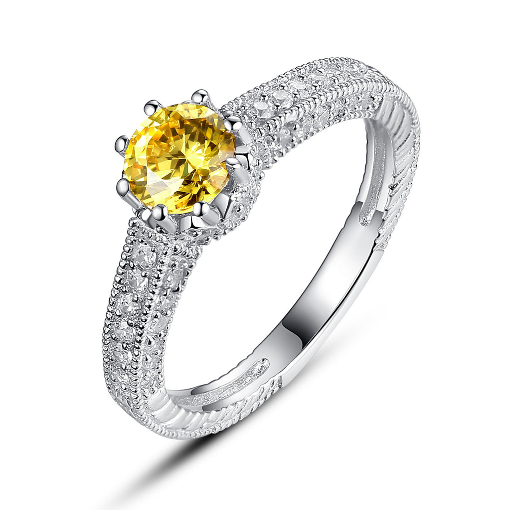 Sterling Silver Yellow and Clear Cubic Zirconia Engagement Ring