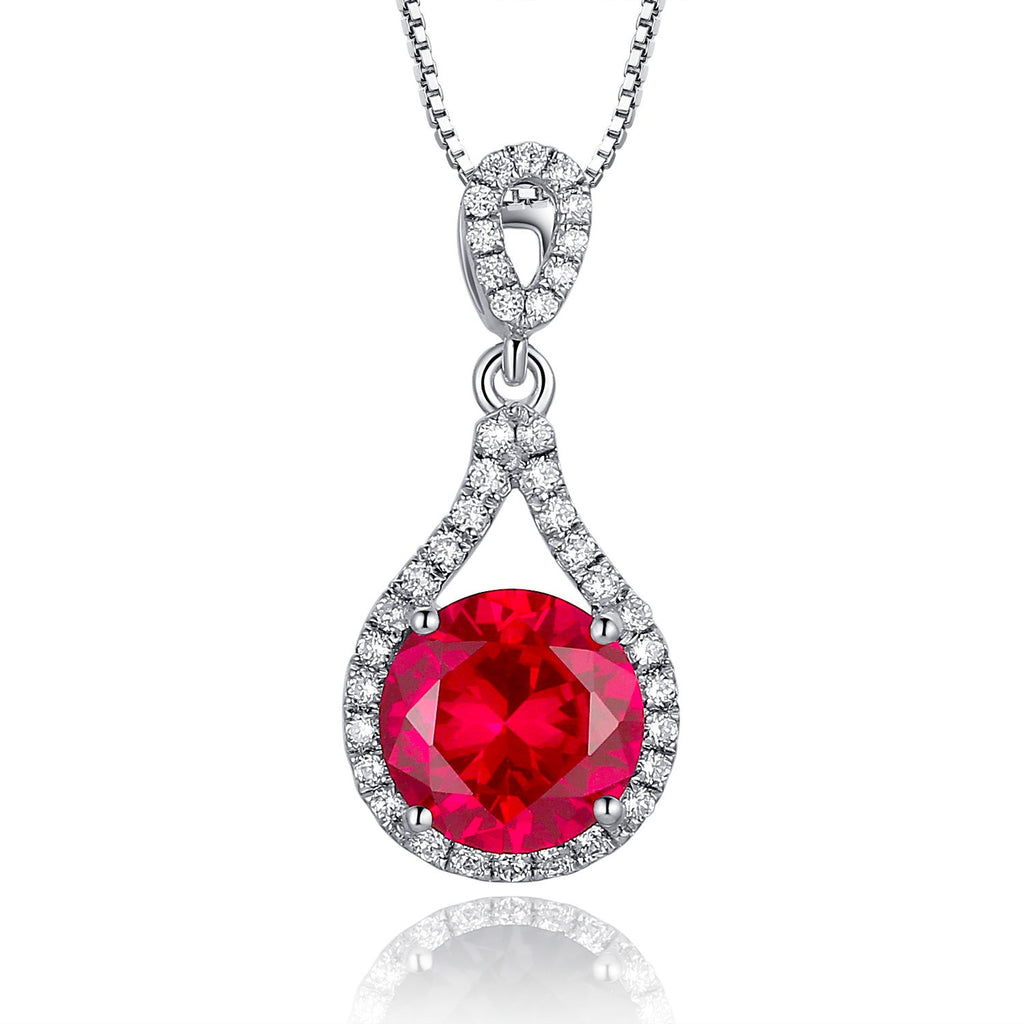 Sterling silver 25ct round ruby pendant necklace arco iris jewelry sterling silver 25ct round ruby pendant necklace aloadofball Gallery