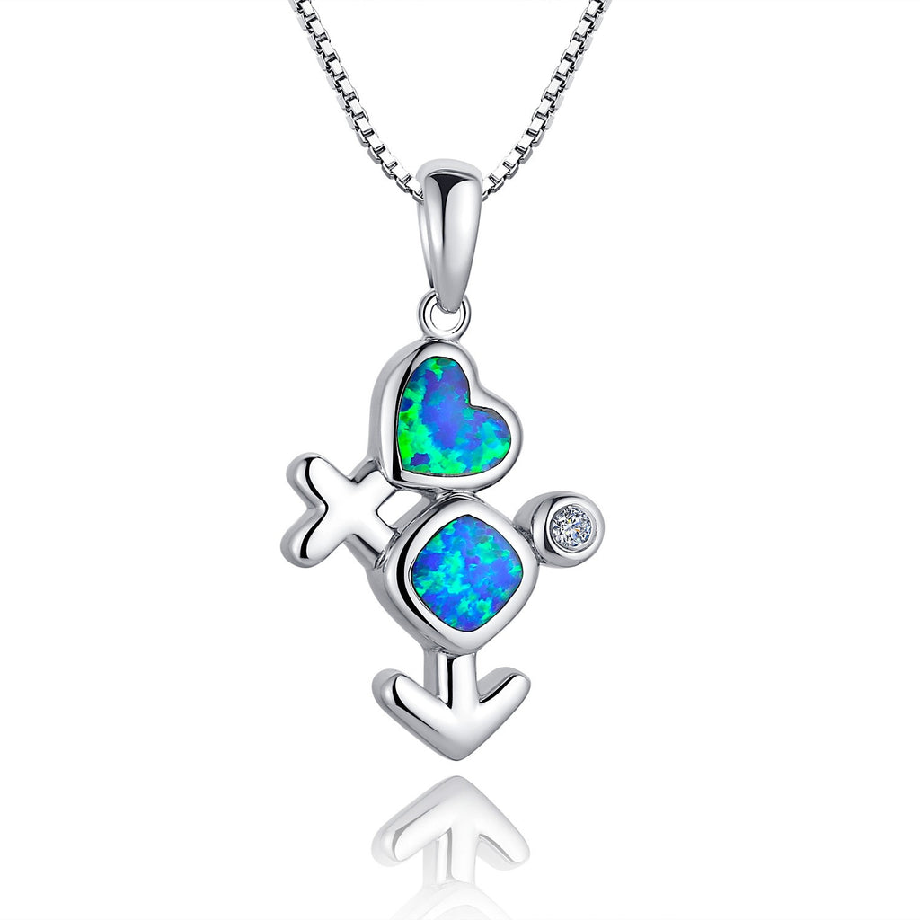 Sterling Silver Male Female Symbol W. Blue and Green Fire Opal Pendant Necklace