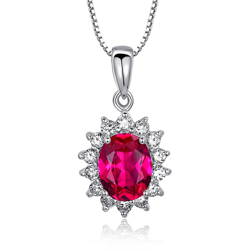 Sterling Silver 3.5ct Oval Ruby Pendant