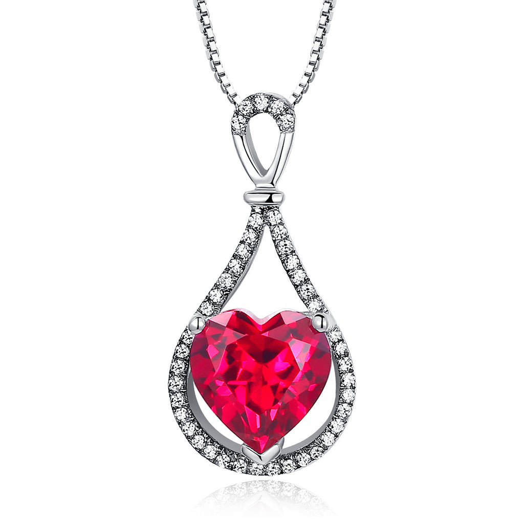 Sterling Silver 4ct Heart-Shaped Ruby Pendant Necklace