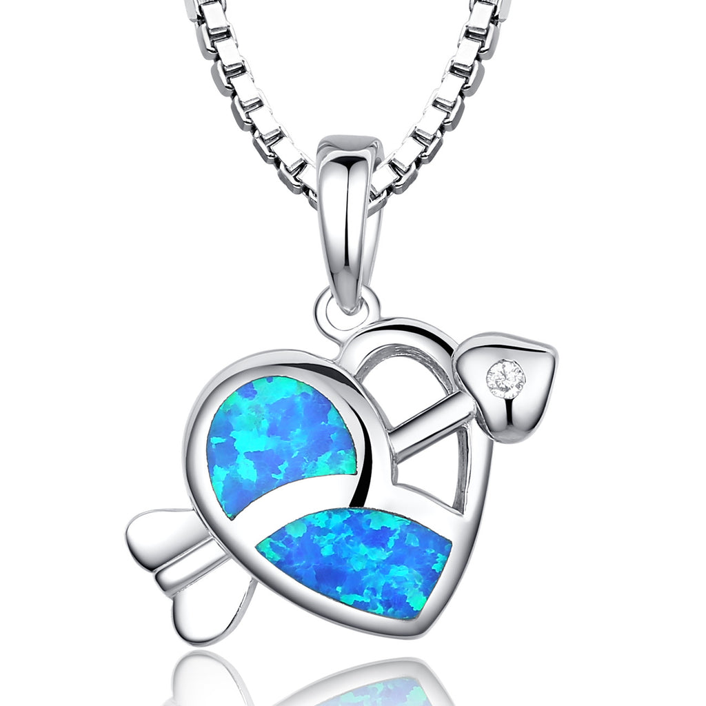 Sterling Silver Cupid's Arrow Heart W. Blue and Green Fire Opal Pendant Necklace