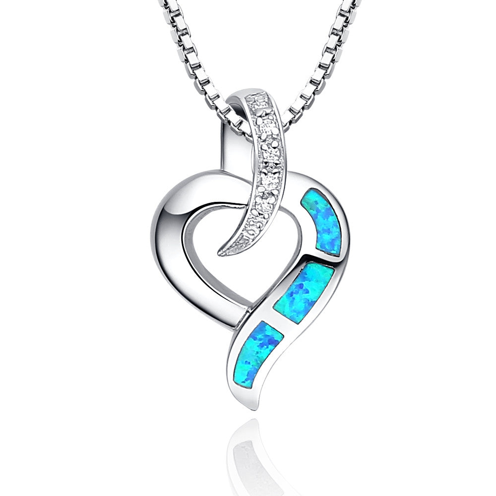 Sterling silver heart w blue and green fire opal pendant necklace sterling silver heart w blue and green fire opal pendant necklace aloadofball Images