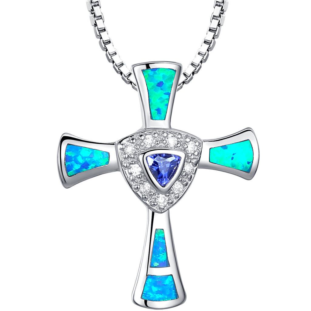 Sterling Silver Cross W. Blue Green Fire Opal and Purple CZ Pendant Necklace