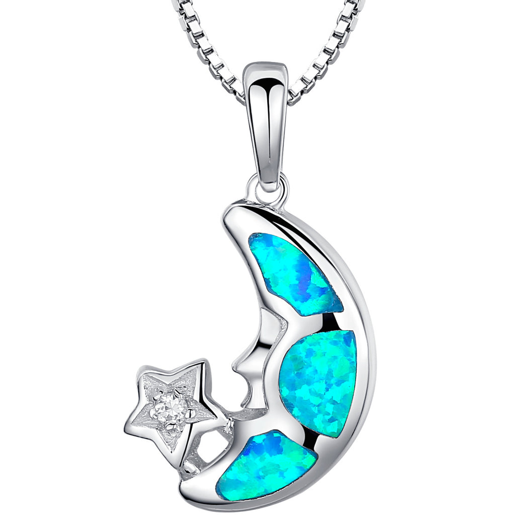 Sterling Silver Moon and Star W. Blue and Green Fire Opal Pendant Necklace