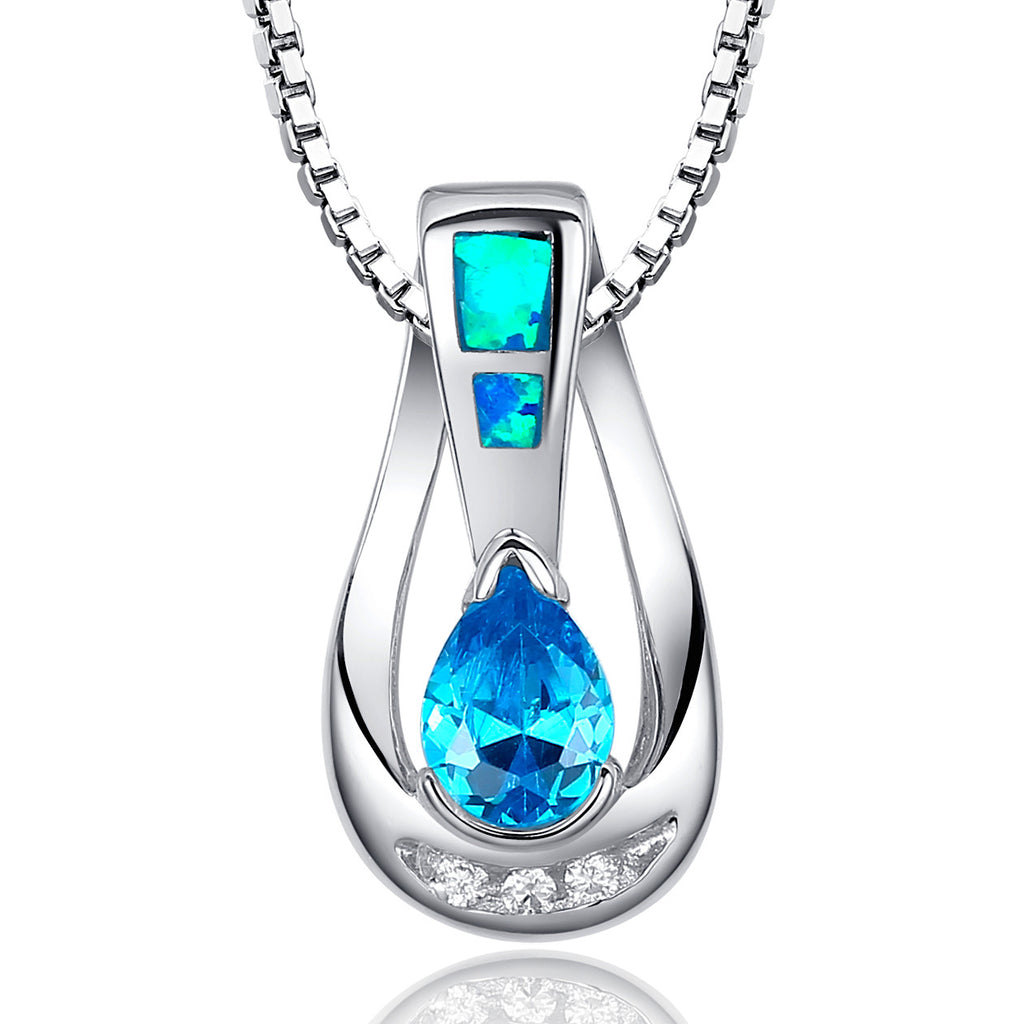 sterling design necklace fire tree product pendant blue silver turquoise opal simulated diamond cubic wholesale coconut zirconia