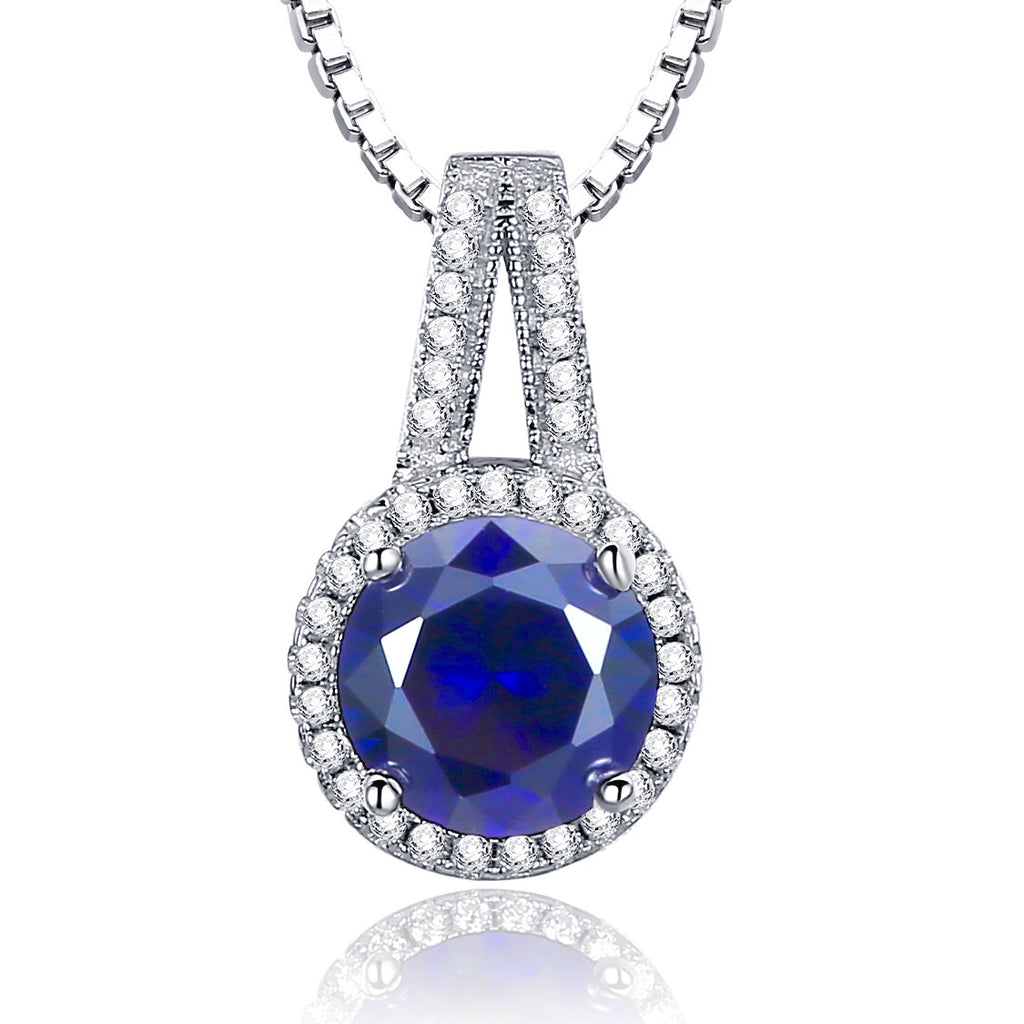 Sterling Silver 2.5ct Round Sapphire Pendant Necklace