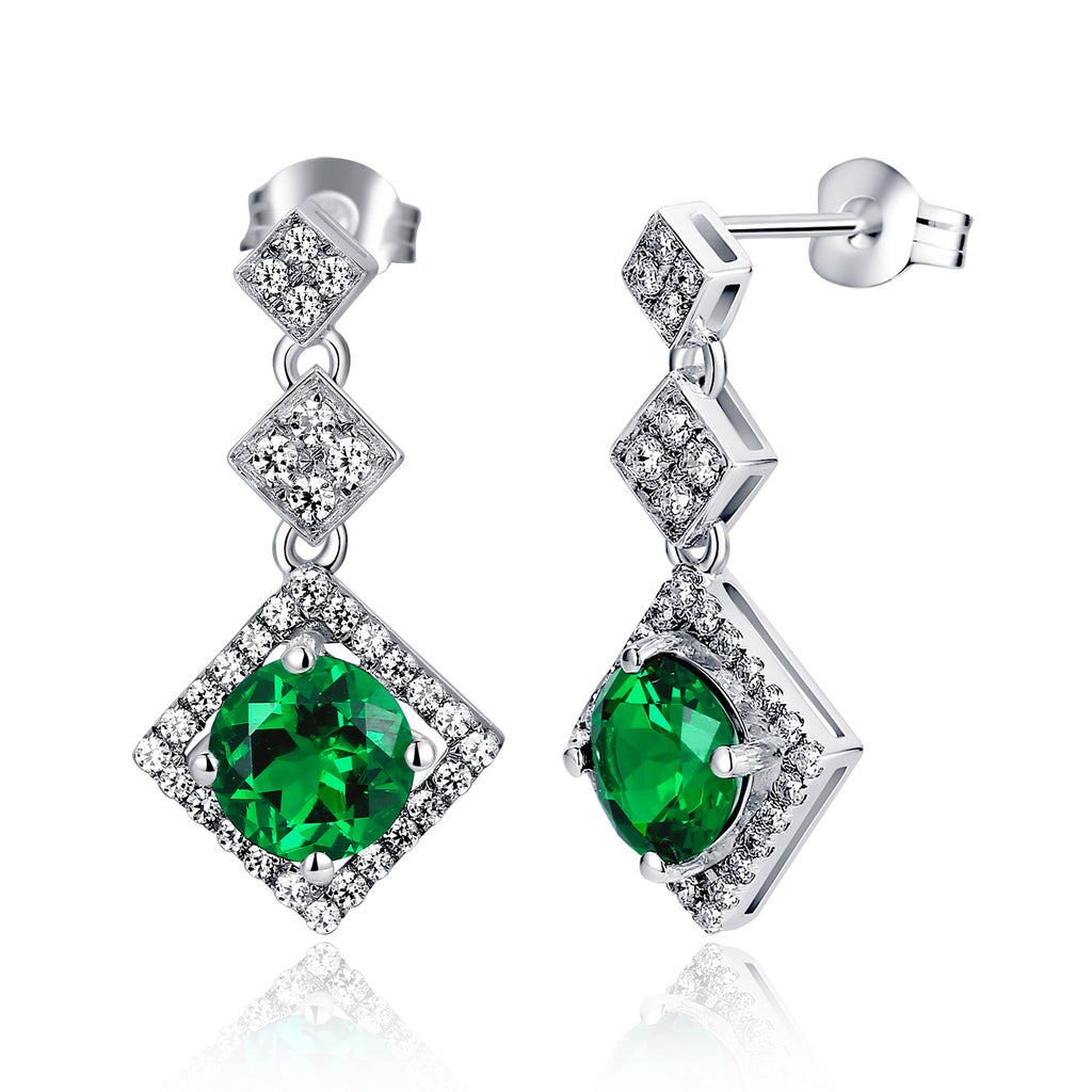 Sterling Silver Rhombus Drop W. 2.5ct Round Emerald Drop Earrings