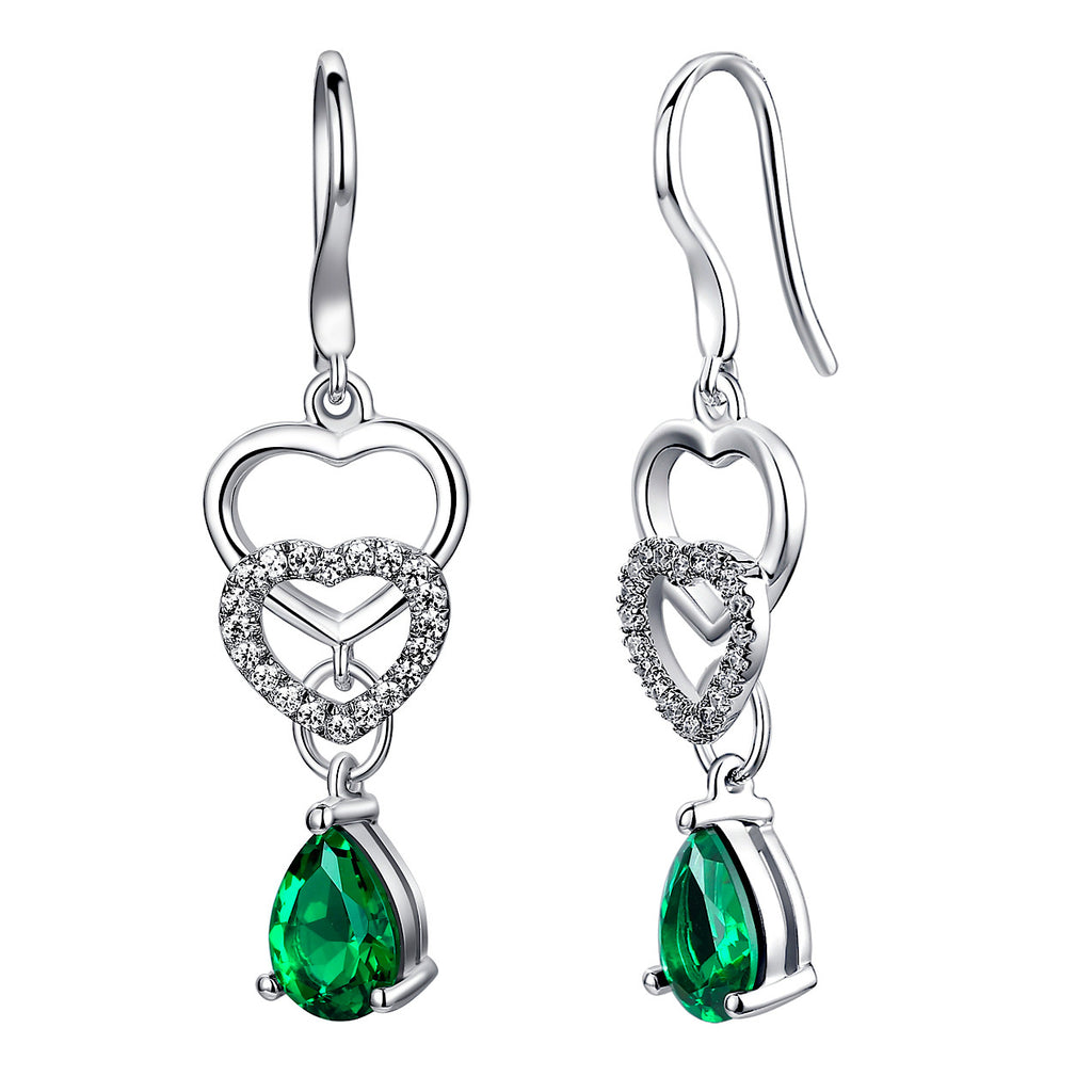 Sterling Silver Linked Hearts W. 2.5ct Teardrop Emerald Drop Earrings