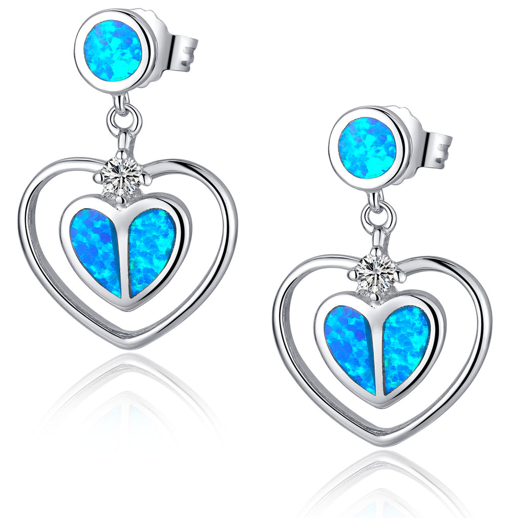 Sterling Silver Double Heart W. Blue and Green Fire Opal Drop Earrings