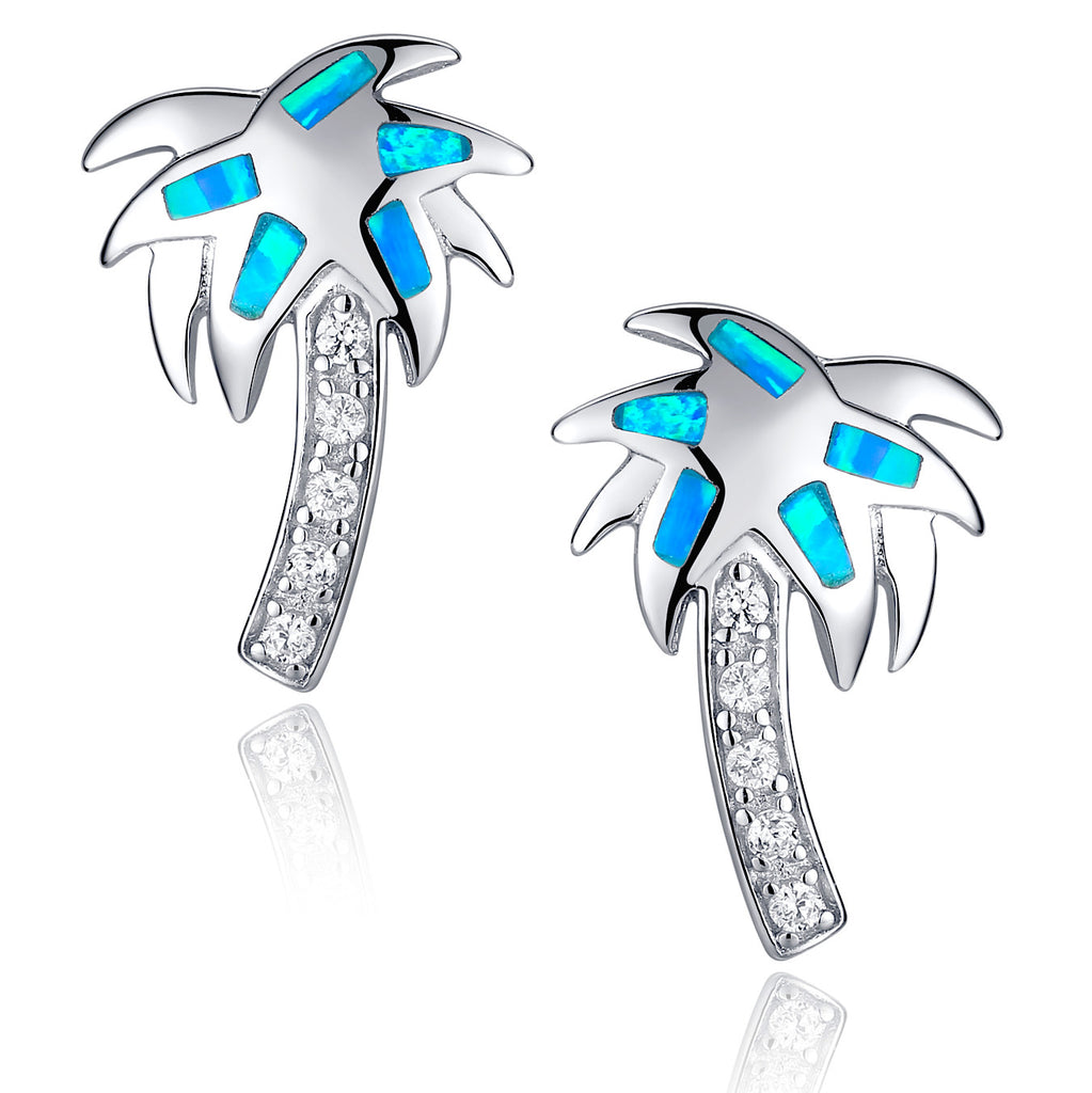 Sterling Silver Palm Tree W. Blue and Green Fire Opal Stud Earrings