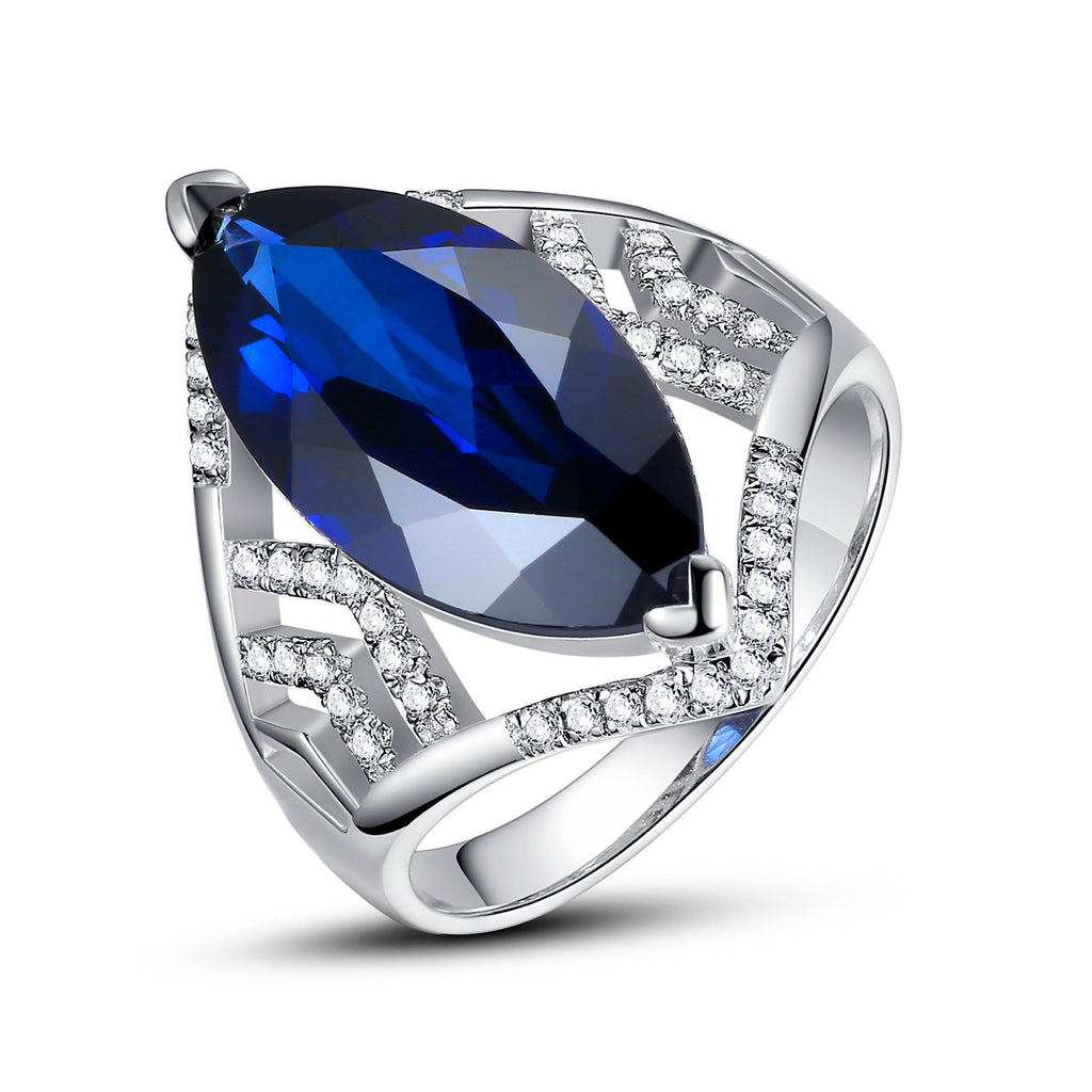 Sterling Silver 7.5 Carats Marquise Sapphire Cocktail Ring