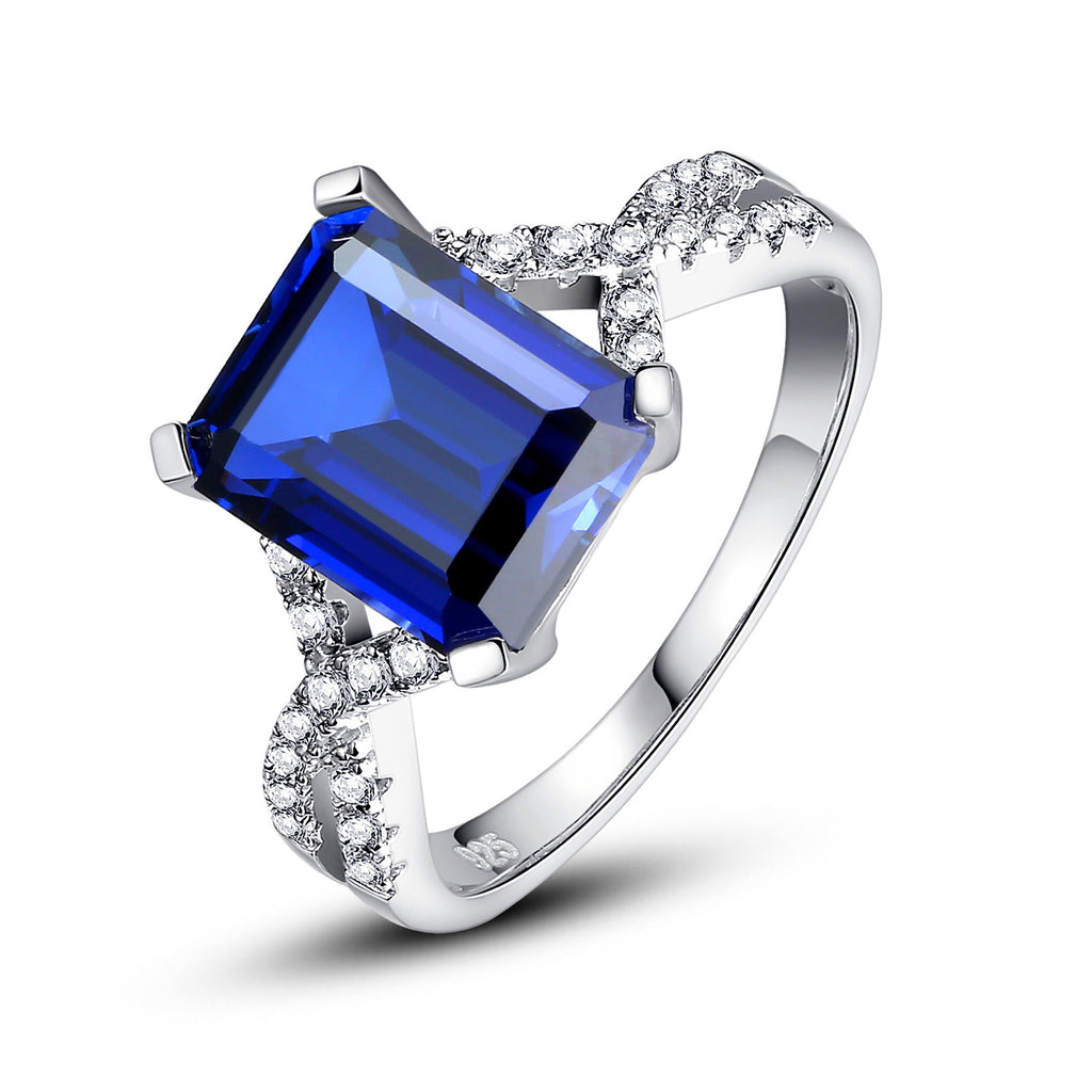 Sterling Silver 5 Carats Emerald-Cut Sapphire Ring