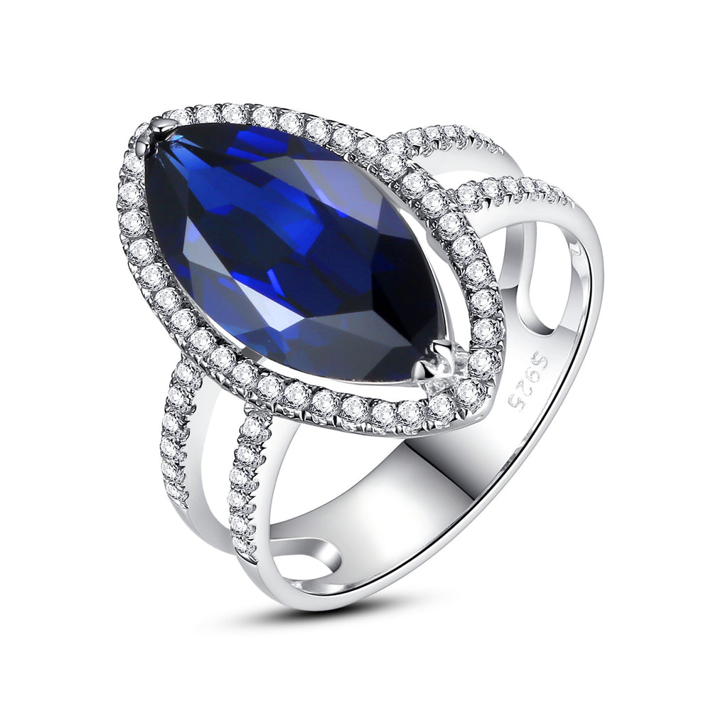 Sterling Silver 7 Carats Marquise Sapphire Cocktail Ring