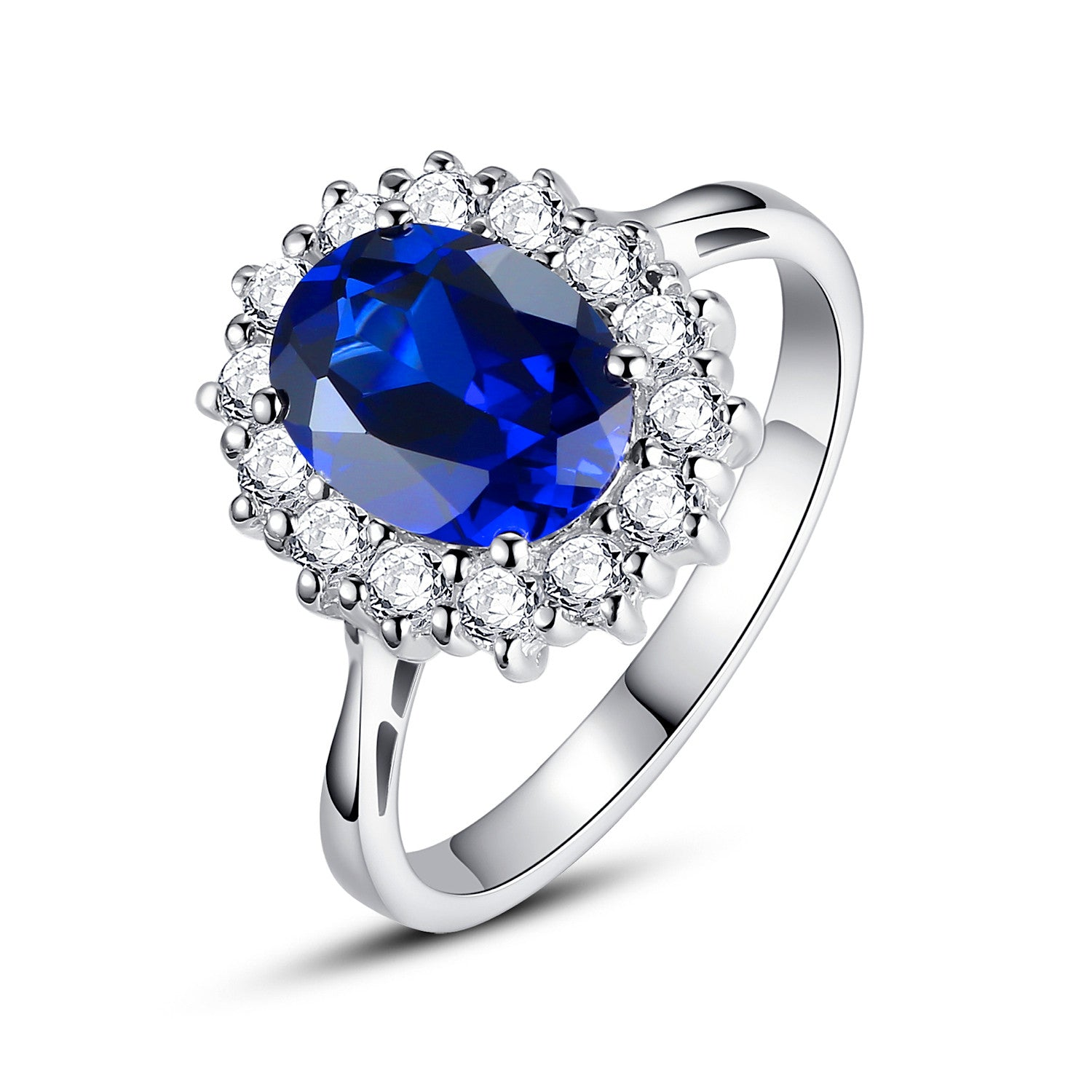 pin created rings blue engagement ring white silver lab sterling sapphire stone