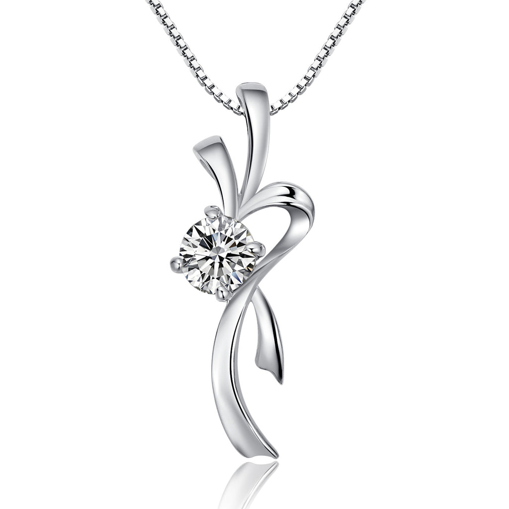 Sterling Silver Stylized Ribbon W. Cubic Zirconia Pendant Necklace