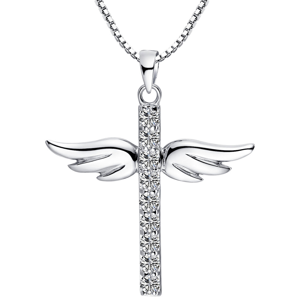 Sterling silver angel wing cross w cubic zirconia pendant necklace sterling silver angel wing cross w cubic zirconia pendant necklace aloadofball Gallery