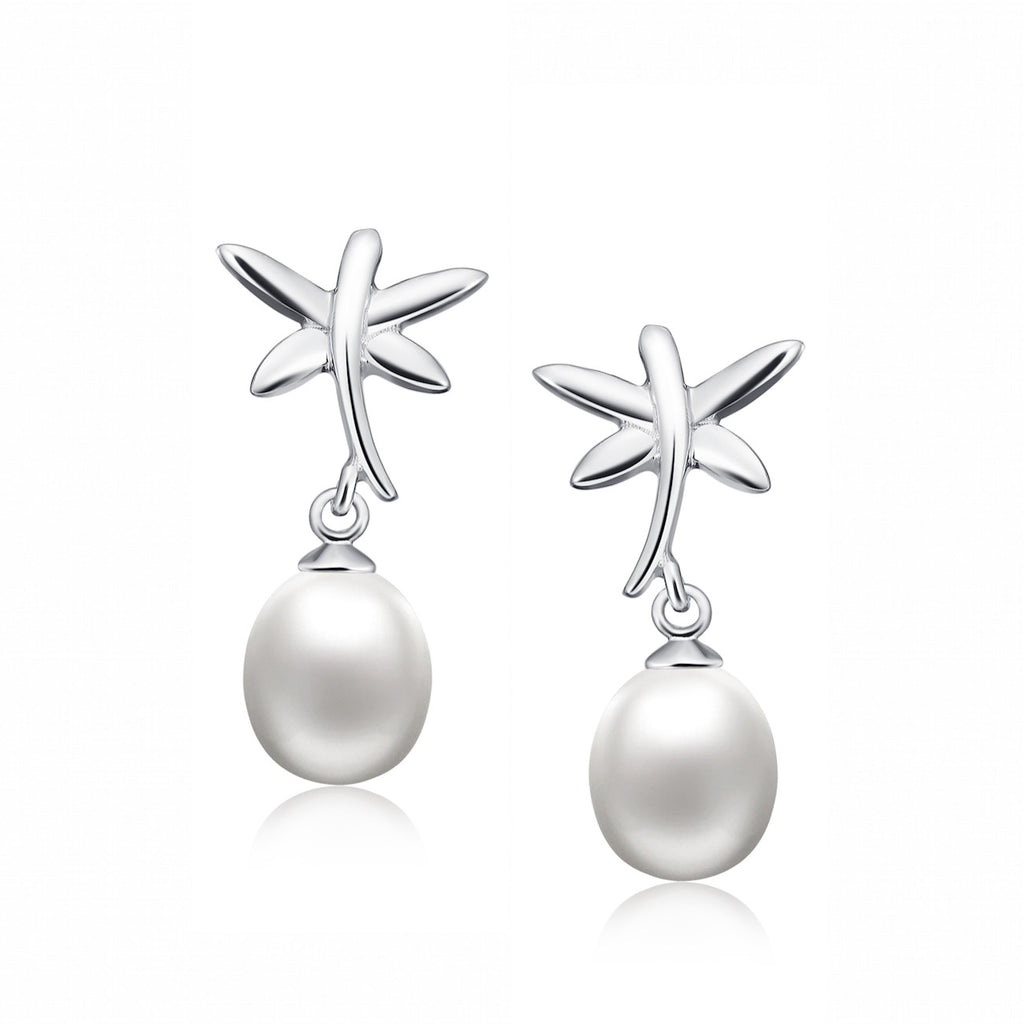 Sterling Silver Dragonfly and Pear Drop Freshwater Cultured Pearl Earrings