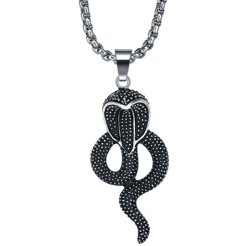 Stainless Steel Black Cobra Pendant Necklace