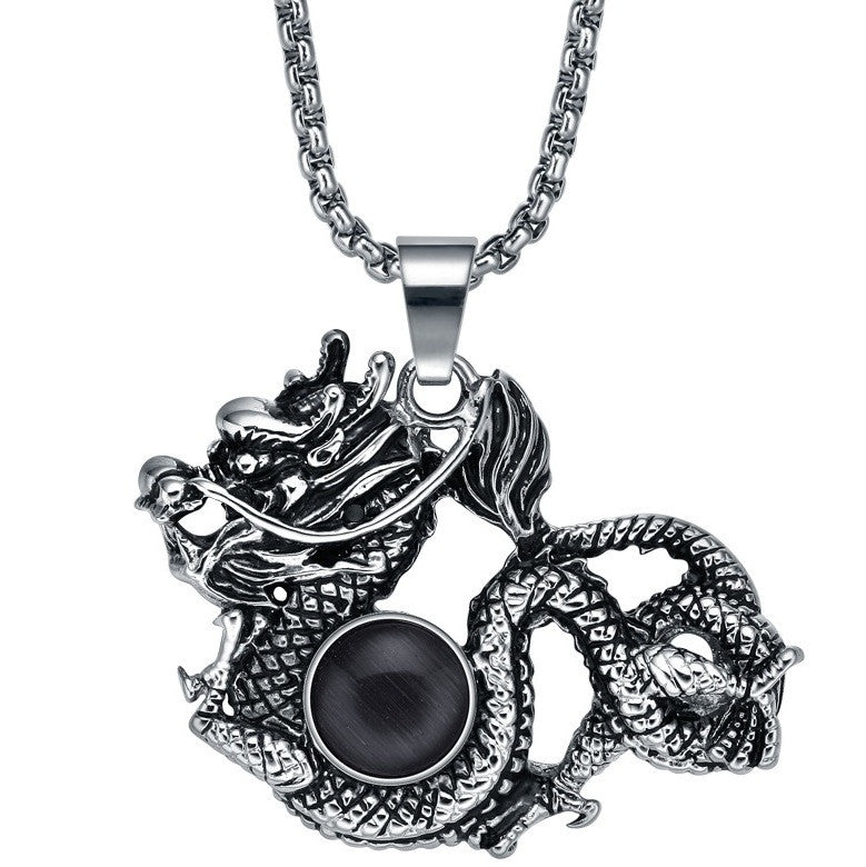 Stainless Steel Chinese Dragon W. Black Onyx Pendant Necklace