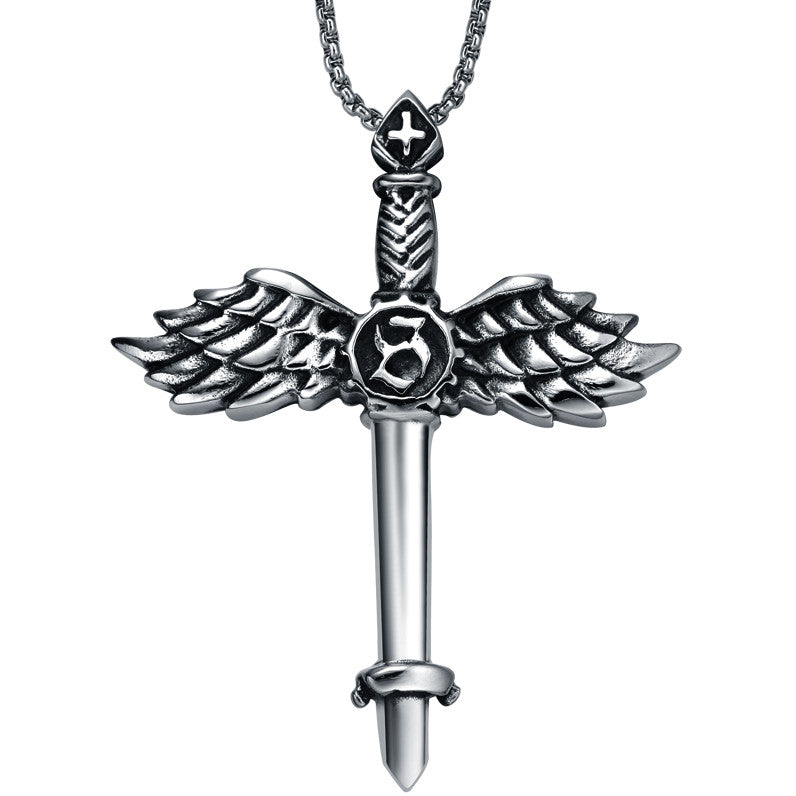 Stainless Steel Angel Wing Sword Cross Pendant Necklace