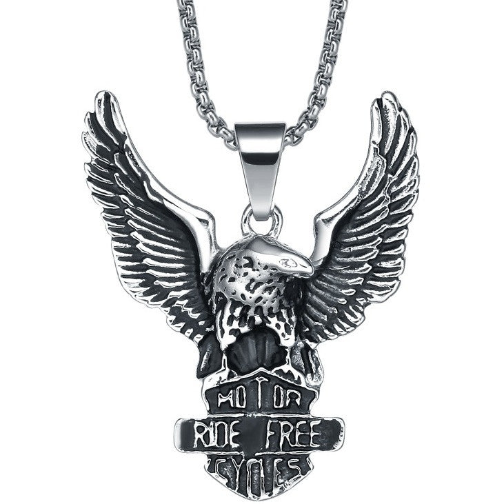 Stainless Steel Flying Eagle Pendant Necklace