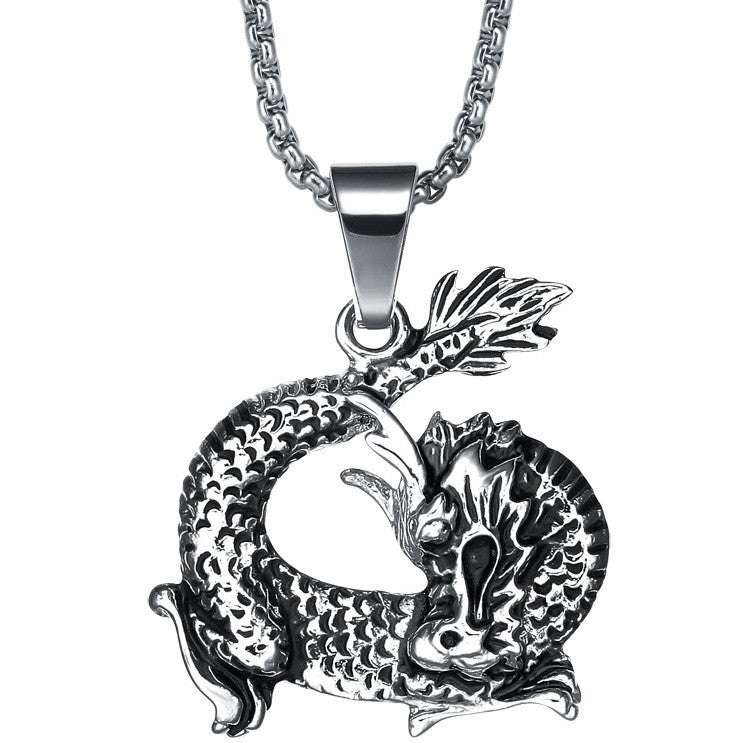 Stainless Steel Sleeping Dragon Pendant Necklace