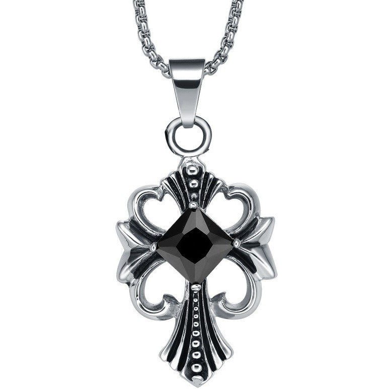 Stainless Steel Black Crystal Centered Pendant Necklace