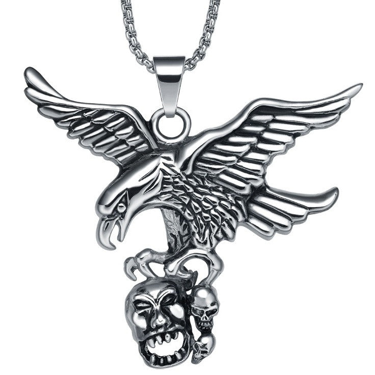 Stainless Steel Hunting Eagle Seizing Skulls Pendant Necklace